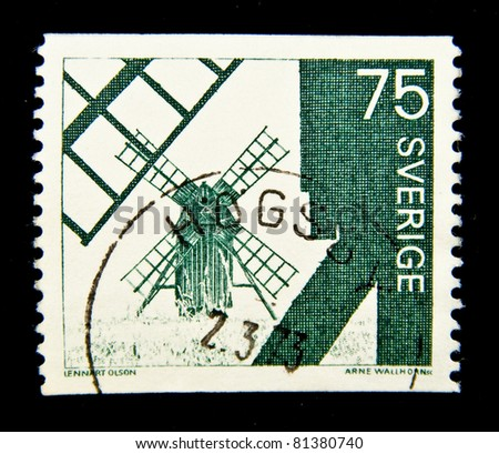SWEDEN - CIRCA 1973: A stamp printed in Sweden shows windmill, circa 1973