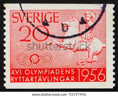 SWEDEN - CIRCA 1956: a stamp printed in the Sweden shows Greek Horseman, Olympic Equestrian Competitions, Stockholm, circa 1956