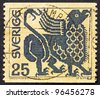 SWEDEN - CIRCA 1971: a stamp printed in the Sweden shows Griffin, Mythical Majestic Creature, circa 1971 - stock photo