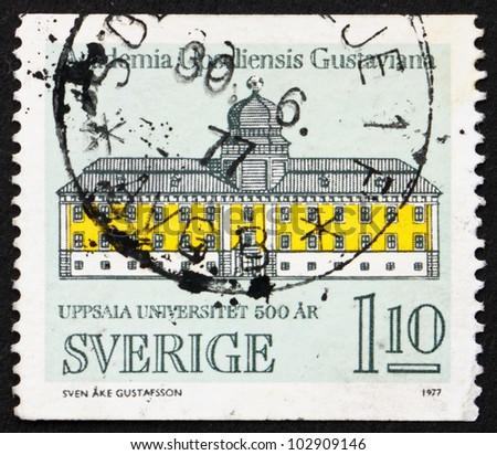 SWEDEN - CIRCA 1977: a stamp printed in the Sweden shows Gustavianum, Uppsala University, 500th Anniversary, circa 1977 - stock photo