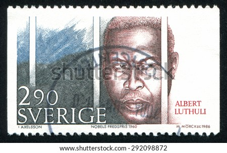 SWEDEN - CIRCA 1986: stamp printed by Sweden, shows Albert Luthuli, circa 1986