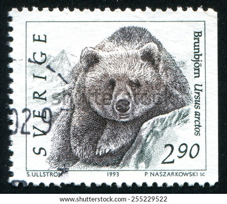 SWEDEN - CIRCA 1993: stamp printed by Sweden, shows bear, circa 1993 - stock photo