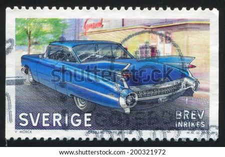 SWEDEN - CIRCA 2009: stamp printed by Sweden, shows Cadillac, CIRCA 2009 - stock photo
