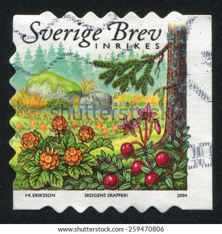 SWEDEN - CIRCA 2004: stamp printed by Sweden, shows Cloudberries and cranberries, circa 2004 - stock photo