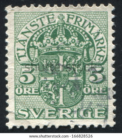 SWEDEN - CIRCA 1874: stamp printed by Sweden, shows Coat of arms, circa 1874