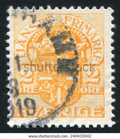 SWEDEN - CIRCA 1874: stamp printed by Sweden, shows Coat of arms, circa 1874 - stock photo