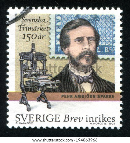 SWEDEN - CIRCA 2005: stamp printed by Sweden, shows Count Pehr Ambjorn Sparre and printing press, circa 2005 - stock photo
