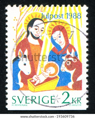SWEDEN - CIRCA 1988: stamp printed by Sweden, shows Holy family, circa 1988