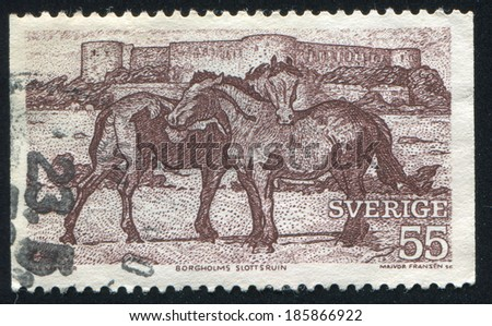 SWEDEN - CIRCA 1972: stamp printed by Sweden, shows Horses and ruin of Borgholm castle, circa 1972 - stock photo