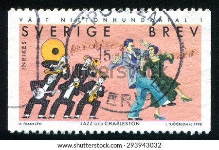 SWEDEN - CIRCA 1998: stamp printed by Sweden, shows Jazz music, Charleston dance, circa 1998 - stock photo
