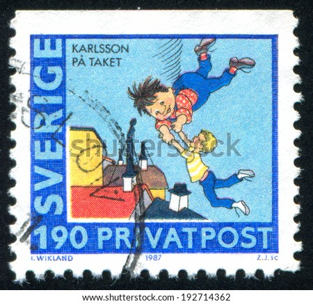 SWEDEN - CIRCA 1987: stamp printed by Sweden, shows Kid and Carlson, circa 1987