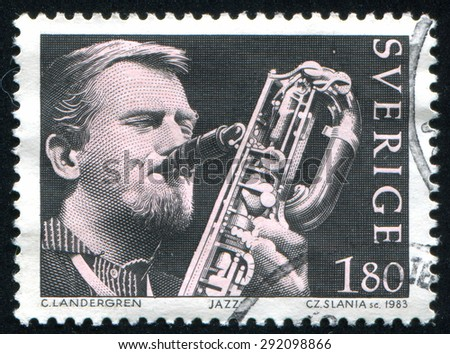 SWEDEN - CIRCA 1983: stamp printed by Sweden, shows Lars Gullin, jazz saxophonist, circa 1983 - stock photo
