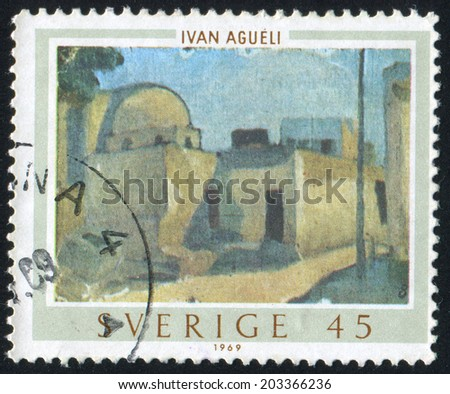 SWEDEN - CIRCA 1969: stamp printed by Sweden, shows Near East town by Ivan Agueli, circa 1969