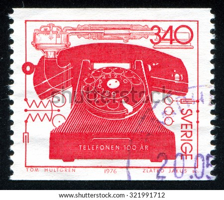 SWEDEN - CIRCA 1976: stamp printed by Sweden, shows phone, circa 1976 - stock photo