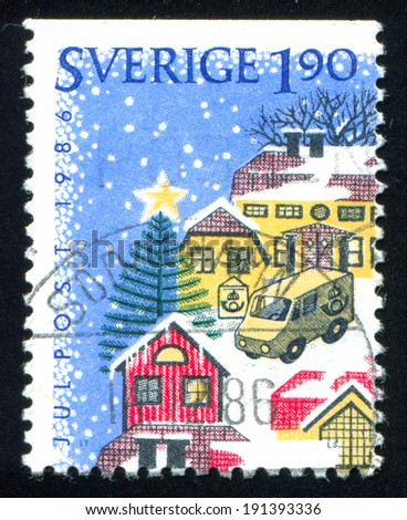 SWEDEN - CIRCA 1986: stamp printed by Sweden, shows Postal van, circa 1986