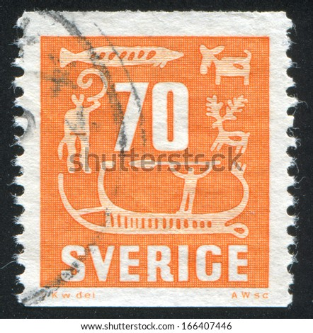SWEDEN - CIRCA 1954: stamp printed by Sweden, shows Rock Carvings, circa 1954