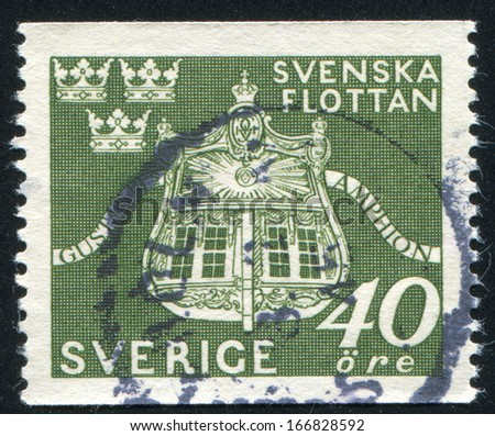 SWEDEN - CIRCA 1966: stamp printed by Sweden, shows Stern of Amphion, Flagship of Gustavus III, circa 1966