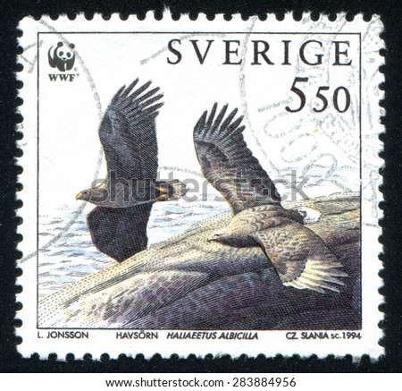 SWEDEN - CIRCA 1994: stamp printed by Sweden, shows wild eagle, circa 1994 - stock photo