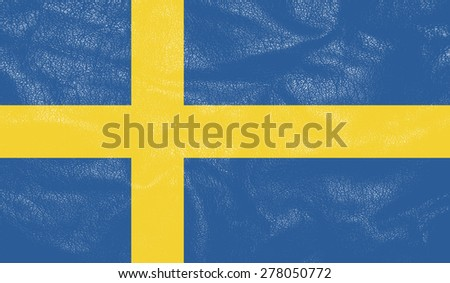 Sweden flag on leather texture - world flag leather textured - stock photo
