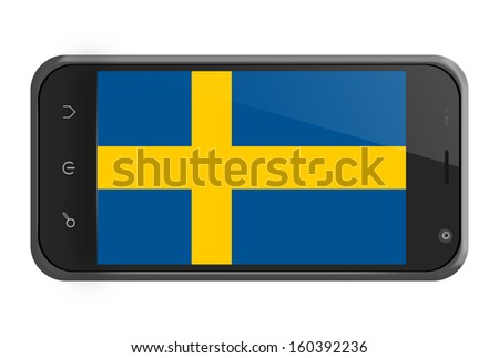 Sweden flag on smartphone screen isolated on white - stock photo