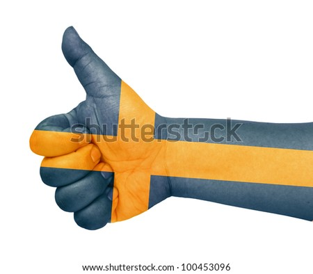 Sweden flag on thumb up gesture like icon - stock photo