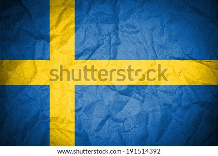Sweden flag painted on crumpled paper  - stock photo