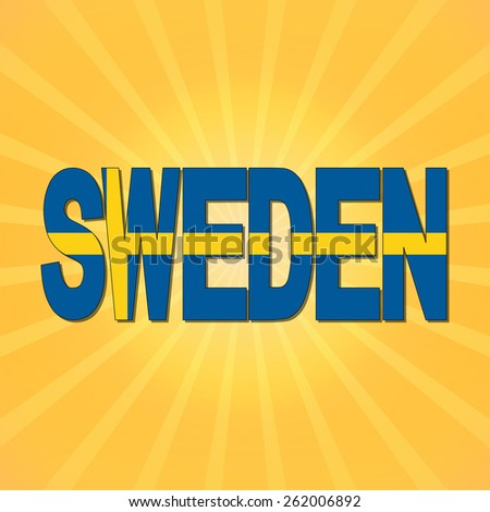 Sweden flag text with sunburst illustration - stock photo