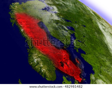 Sweden highlighted in red as seen from Earth's orbit in space. 3D illustration with highly detailed planet surface. Elements of this image furnished by NASA.