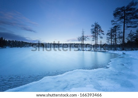 Sweden landscape winter lake - stock photo
