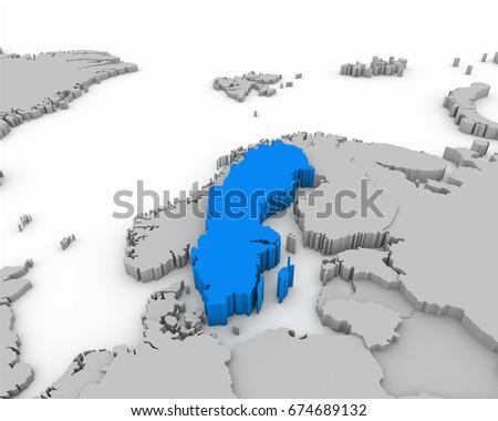 Greece D Map Stock Illustration Shutterstock - Sweden map 3d