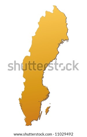 Sweden map filled with orange gradient. Mercator projection. Original rendered image using public domain data(coordinates).