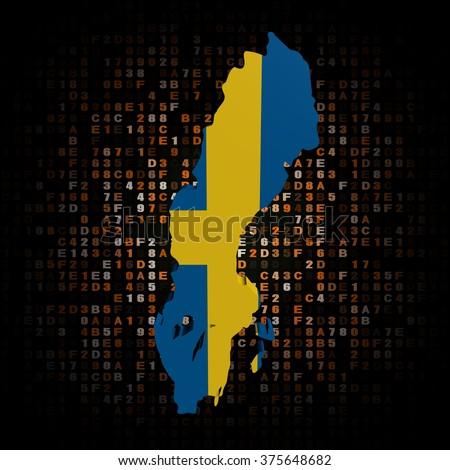 Sweden map flag on hex code illustration - stock photo