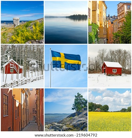 Sweden. Swedish flag, city, countryside and nature. Collection of 9 images. - stock photo