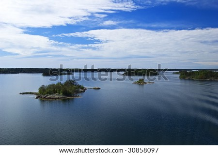 Swedish archipelago in sunny day - stock photo
