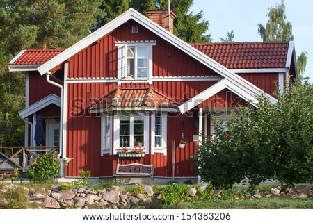 Swedish architecture. Hoses and environment in Sweden. - stock photo