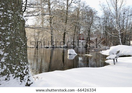 Swedish city park in winter colors - stock photo