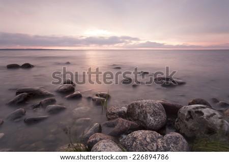 Swedish coastline before sunset, Ã?Â?land - stock photo