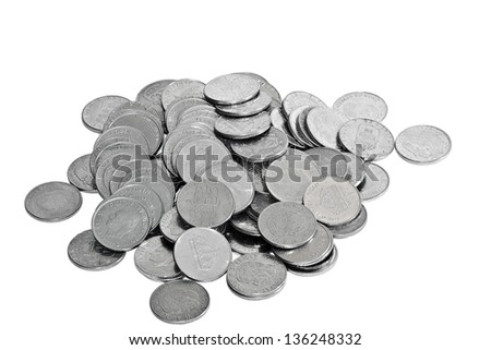 swedish coins isolated on white - stock photo