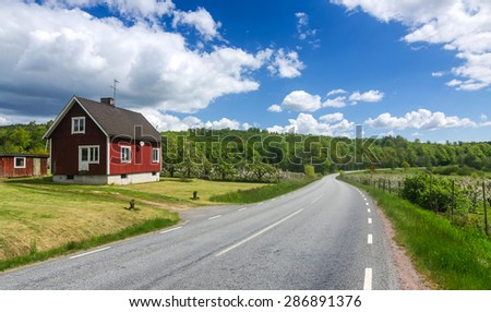 Swedish country landscape in May - stock photo