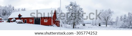 Swedish countryside winter panorama  - stock photo
