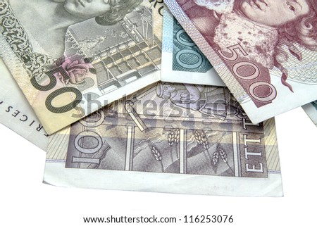 Swedish currency closeup on white baclground - stock photo