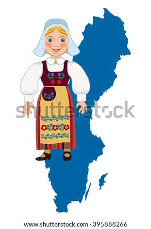 Swedish girl in traditional national dress on a background map - stock photo
