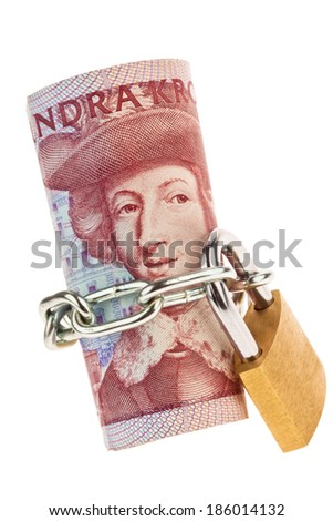 swedish krona, the currency of sweden. with lock. secure investment. - stock photo
