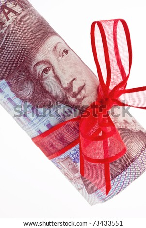 Swedish krona, the currency of Sweden. With red stitch. - stock photo