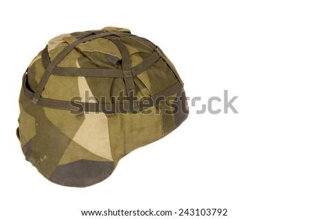 swedish military helmet isolated on white background - stock photo