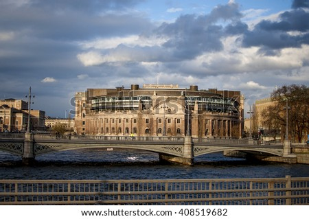 Swedish parliament building in Stockholm a sunny day in spring. - stock photo