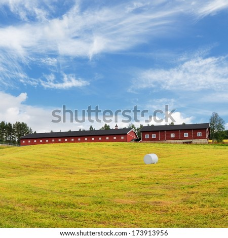Swedish Red Farm Countryside With Blue Sky - stock photo