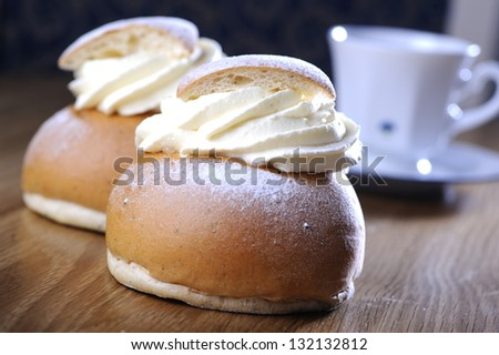 Swedish semla with coffee