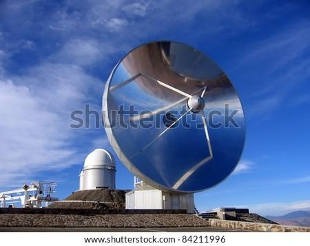 Swedish sub-millimeter telescope in the Atacama Desert. Located in the European Southern Observatory (ESO) telescopes, at La Silla, the Swedish sub-millimeter telescope has already been decommissioned - stock photo