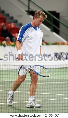 Swedish tennis star Thomas Johansson during his first round defeat, Qatar Open, January 2, 2007